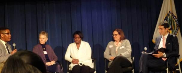 "U.S. Dept. of Ed panel on ""Beyond the Wall"" with (L-R) student Jeffrey Wood; mentor, Sally Schwartz; mother, Pamela Bullock; teacher, Stacey Yule; and Dpty Asst Secy, Mohamed Abdel-Kader"